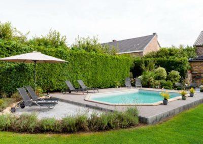 construction piscine en bois sur terrasse à Liège